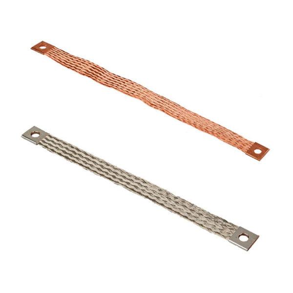 Flexible flat copper braid bond